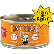 Tiny Tiger Chunks in Gravy Turkey Recipe Grain-Free Canned Cat Food, 3-oz, case of 24