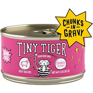 Tiny Tiger Chunks in Gravy Beef Recipe Grain-Free Canned Cat Food, 3-oz, case of 24