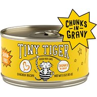 Tiny Tiger Chunks in Gravy Chicken Recipe Grain-Free Canned Cat Food, 3-oz, case of 24
