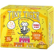 Tiny Tiger Chunks in Gravy Beef & Poultry Recipes Variety Pack Grain-Free Canned Cat Food, 3-oz, case of 24