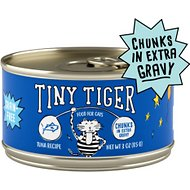 Tiny Tiger Chunks in EXTRA Gravy Tuna Recipe Grain-Free Canned Cat Food, 3-oz, case of 24