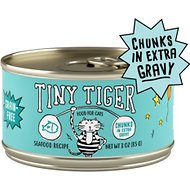 Tiny Tiger Chunks in EXTRA Gravy Seafood Recipe Grain-Free Canned Cat Food, 3-oz, case of 24