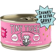 Tiny Tiger Chunks in EXTRA Gravy Salmon & Whitefish Recipe Grain-Free Canned Cat Food, 3-oz, case of 24