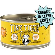 Tiny Tiger Chunks in EXTRA Gravy Chicken Recipe Grain-Free Canned Cat Food, 3-oz, case of 24