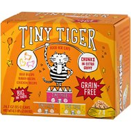 Tiny Tiger Chunks in EXTRA Gravy Beef & Poultry Recipes Variety Pack Grain-Free Canned Cat Food, 3-oz, case of 24