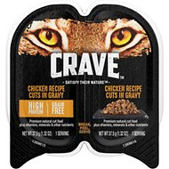 Crave Chicken Recipe Cuts in Gravy Grain-Free Adult Cat Food Trays, 2.6-oz, case of 24 twin-packs