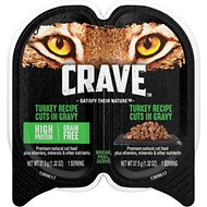 Crave Turkey Recipe Cuts in Gravy Grain-Free Adult Cat Food Trays, 2.6-oz, case of 24 twin-packs