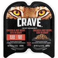 Crave Chicken & Beef Recipe Cuts in Gravy Grain-Free Adult Cat Food Trays, 2.6-oz, case of 24 twin-packs