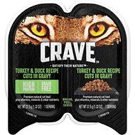 Crave Turkey & Duck Recipe Cuts in Gravy Grain-Free Adult Cat Food Trays, 2.6-oz, case of 24 twin-packs