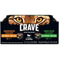 Crave Chicken & Turkey Recipe Cuts in Gravy Variety Pack Grain-Free Adult Cat Food Trays, 2.6-oz, case of 12 twin-packs