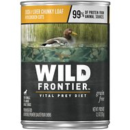 Wild Frontier by Nutro Duck & Liver Chunky Loaf with Chicken Cuts Grain-Free Adult Canned Dog Food, 12.5-oz, case of 12