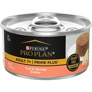 Purina Pro Plan Prime Plus 7+ Classic Cod & Shrimp Grain-Free Entree Canned Cat Food, 3-oz, case of 24