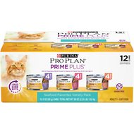 Purina Pro Plan Prime Plus Adult 7+ Seafood Variety Pack Canned Cat Food, 3-oz can, case of 12