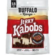 Buffalo Range All Natural Grain Free Jerky Kabob Rawhide Dog Treats, 18 count