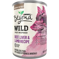 Purina Beyond Wild Prey-Inspired Beef, Liver & Lamb Recipe Canned Dog Food, 13-oz, case of 12