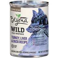 Purina Beyond Wild Prey-Inspired Grain-Free High Protein Turkey, Liver & Duck Pate Recipe Canned Dog Food, 13-oz, case of 12