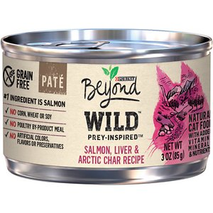 Purina Beyond Wild Prey-Inspired Grain-Free High Protein Salmon, Liver & Arctic Char Pate Recipe Canned Cat Food,