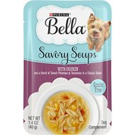 Purina Bella Savory Soups with Chicken and a Blend of Sweet Potatoes & Tomatoes in a Classic Stock Lickable Dog Treats, 1.4-oz pouch, case of 16