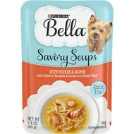 Purina Bella Savory Soups with Chicken & Salmon and a Blend of Tomatoes & Carrots in a Classic Stock Lickable Dog Treats, 1.4-oz pouch, case of 16