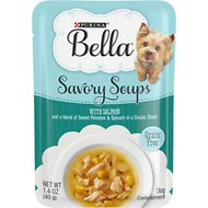 Purina Bella Savory Soups with Salmon and a Blend of Sweet Potatoes & Spinach in a Classic Stock Wet Dog Food, 1.4-oz pouch, case of 16