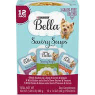 Purina Bella Savory Soups Classic Recipes Variety Pack Lickable Dog Treats, 1.4-oz tray, case of 12
