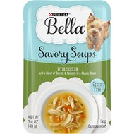 Purina Bella Savory Soups with Chicken and a Blend of Carrots & Spinach in a Classic Stock Lickable Dog Treats, 1.4-oz pouch, case of 16