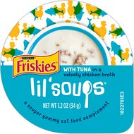 Friskies Lil' Soups with Tuna in a Velvety Chicken Broth Lickable Cat Treats, 1.2-oz cup, case of 8