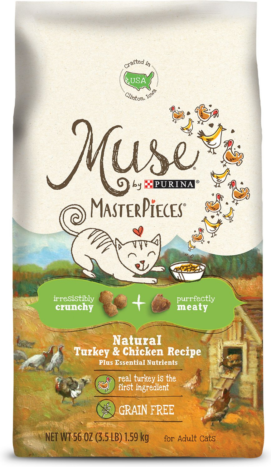 Purina Muse MasterPieces Natural Turkey & Chicken Recipe Dry Cat Food,  3 5-lb bag