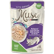Purina Muse Natural Tuna Recipe with Shrimp in Broth Wet Cat Food, 1.76-oz pouch, case of 16