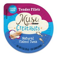 Purina Muse Creatables Tender Filets Natural Flaked Tuna Wet Cat Treats, 1-oz tub, case of 8