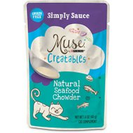 Purina Muse Creatables Simply Sauce Natural Seafood Chowder Lickable Cat Treats, 1.4-oz pouch, case of 14