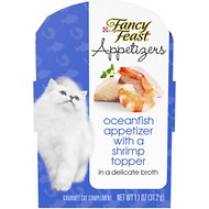 Fancy Feast Appetizers Oceanfish with a Shrimp Topper Cat Treats, 1.1-oz tray, case of 10