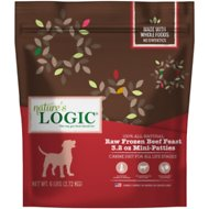 Nature's Logic Beef Feast Mini Patties Raw Frozen Dog Food, 3.2-oz patty, 6-lb bag