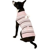 Pup Crew Pink Striped Pocket Dog & Cat Sweater, X-Large