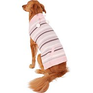 Pup Crew Pink Striped Pocket Dog & Cat Sweater, XX-Large