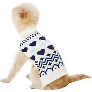 Pup Crew Blue Hearts Dog & Cat Sweater, X-Small