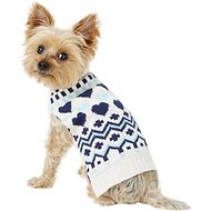 Pup Crew Blue Hearts Dog & Cat Sweater, Small