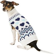 Pup Crew Blue Hearts Dog & Cat Sweater, Medium