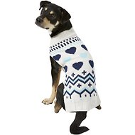 Pup Crew Blue Hearts Dog & Cat Sweater, X-Large