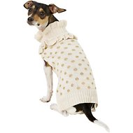 Pup Crew Gold Polka Dot Ruffled Dog & Cat Sweater, Medium