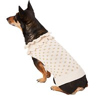Pup Crew Gold Polka Dot Ruffled Dog & Cat Sweater, Large