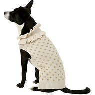 Pup Crew Gold Polka Dot Ruffled Dog & Cat Sweater, X-Large