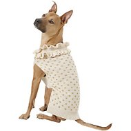 Pup Crew Gold Polka Dot Ruffled Dog & Cat Sweater, XX-Large