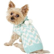 Pup Crew Turquoise Chevron Dog & Cat Sweater, Small