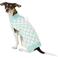 Pup Crew Turquoise Chevron Dog & Cat Sweater, Medium