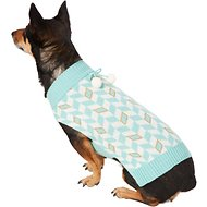 Pup Crew Turquoise Chevron Dog & Cat Sweater, Large