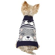 Pup Crew Blue Striped Bear Dog & Cat Sweater, Small