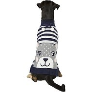 Pup Crew Blue Striped Bear Dog & Cat Sweater, X-Large