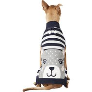 Pup Crew Blue Striped Bear Dog & Cat Sweater, XX-Large
