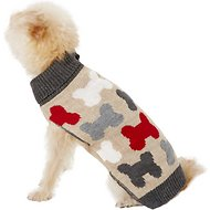 Pup Crew Bones Split Neck Dog & Cat Sweater, X-Small